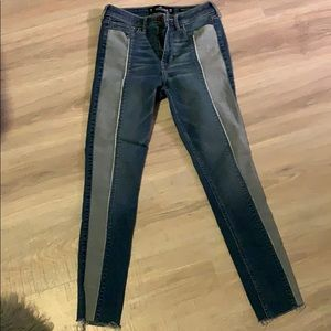High rise, 2 tone jeans